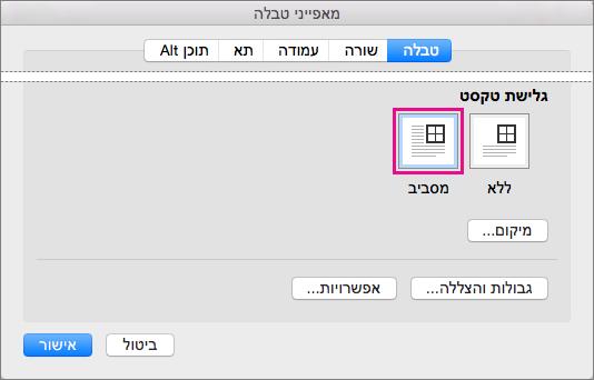 לחץ על מסביב כדי שטקסט יגלוש מסביב הטבלה שנבחרה.