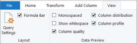 אפשרויות של יצירת פרופילים של נתונים בכרטיסיה ' תצוגה ' של רצועת הכלים של עורך השאילתות של Power Query