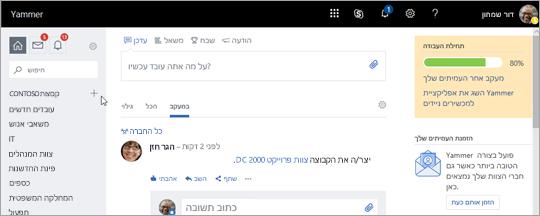 צילום מסך של דף הבית של Yammer.com