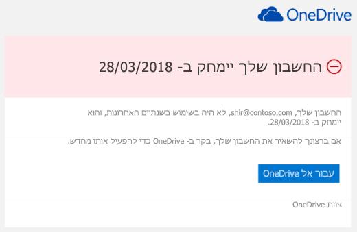 צילום מסך של הודעת דואר אלקטרוני