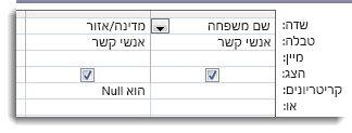 תמונות מציגות שדה קריטריונים במעצב השאילתות עם קריטריוני is null