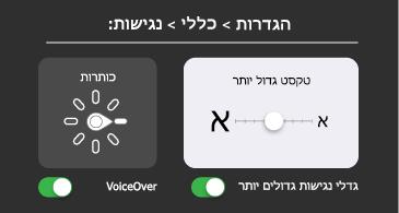 נגישות כללית: טקסט גדול והגדרות VoiceOver