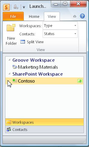סביבת עבודה של SharePoint בסרגל ההפעלה