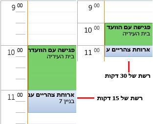 דוגמה לרשת זמנים של 30 ושל 15 דקות בלוח השנה
