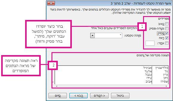 שלב 2 באשף המרת טקסט לעמודות