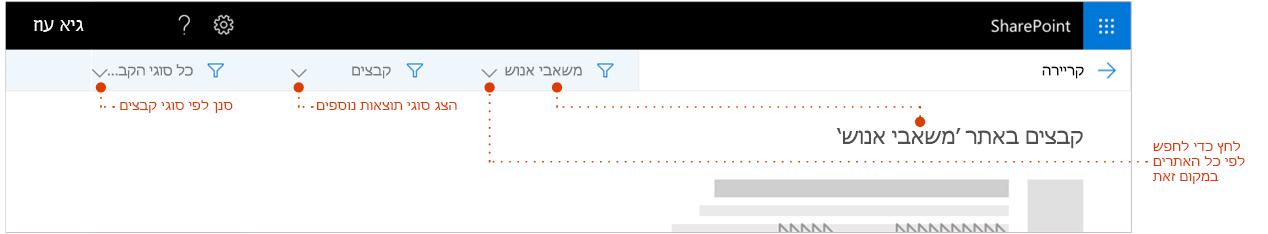 צילום מסך של חיפוש דף תוצאות, הוגדלה לחלק העליון של התוצאות כאשר הצגת סימני הדרך של האתר התוצאות מגיעות מ-. מצביעי למסננים.