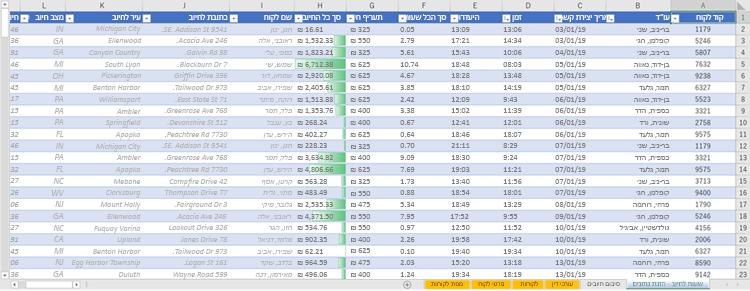 גליון עבודה עם עמודות המשתמשות ב-VLOOKUP כדי לקבל נתונים מטבלאות אחרות