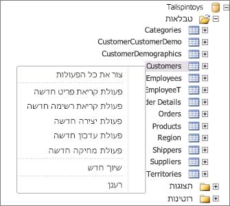 צילום מסך המציג את מסד הנתונים tailspintoys ב- sharepoint designer. אם תלחץ באמצעות לחצן העכבר הימני על שם הטבלה, יופיע תפריט שבו תוכל לבחור פעולות כדי ליצירה.