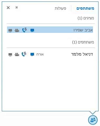 צילום מסך של הסמלים הנמצאים לצד שם המשתתף כדי לציין זמינות הודעות מיידיות, שמע, וידאו ויכולות שיתוף
