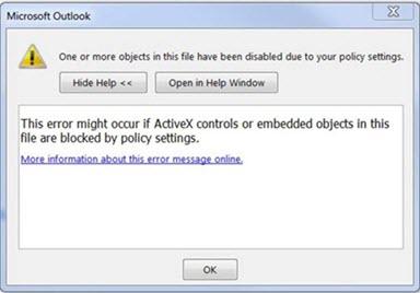 שגיאה של Outlook