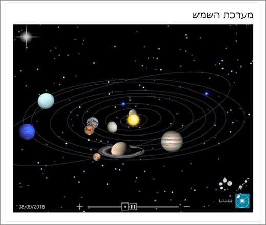 מפת מערכת השמש ב- Bing