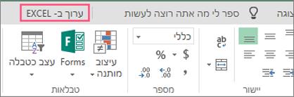 לחצן 'פתח ב- Excel'
