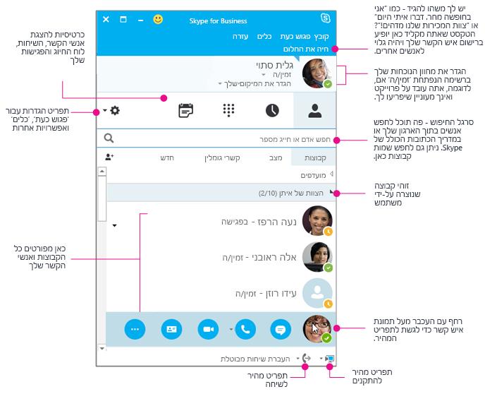 חלון אנשי הקשר של Skype for Business, בדיאגרמה