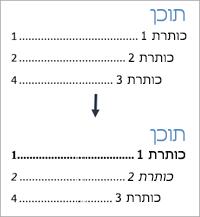 מראה לפני ואחרי תצוגות של עיצוב סגנונות טקסט בתוכן העניינים