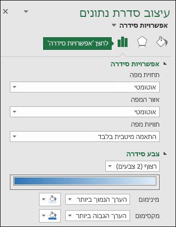 אפשרויות סידרה בחלונית המשימות 'עיצוב אובייקט' בתרשים מפה של Excel