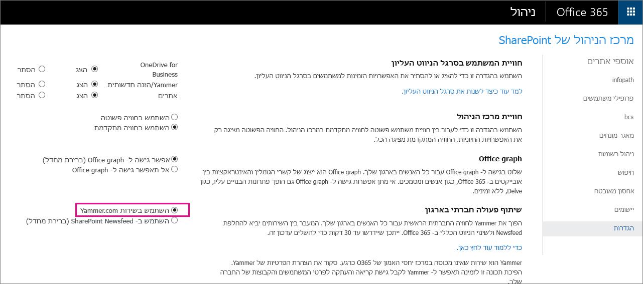 """מרכז הניהול של SharePoint המציג את ההגדרה """"השתמש בשירות Yammer.com"""""""