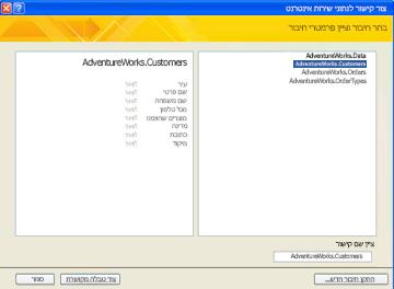 חיבור נתונים של שירות אינטרנט הזמין לקישור