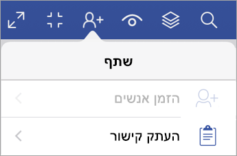 'העתק קישור' ב- Visio Viewer עבור iPad