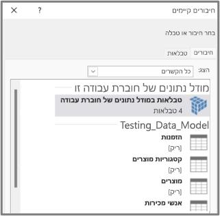 טבלאות במודל הנתונים