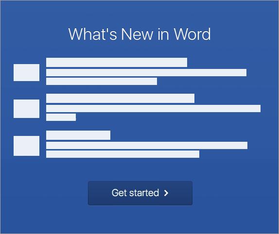 התחל את הפעלת Word 2016 עבור Mac