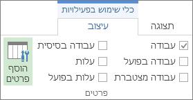 הכרטיסיה 'תבנית כלי שימוש בפעילויות', לחצן 'הוסף פרטים'