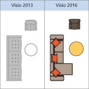 צורות 'תוכנית בית' ב- Visio 2013, צורות 'תוכנית בית' ב- Visio 2016