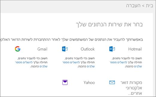 בחר את שירות הדואר האלקטרוני שלך