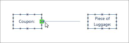 צורת הודעה עם קצה אחד מודגשת בירוק ומחוברת לצורה של קו חיים