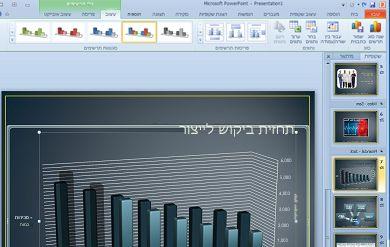 הכרטיסיה 'כלי תרשימים' מופיעה בעת לחיצה על תרשים.