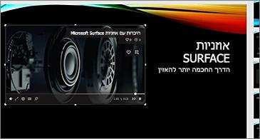 שקופית כוללת וידאו מקוון