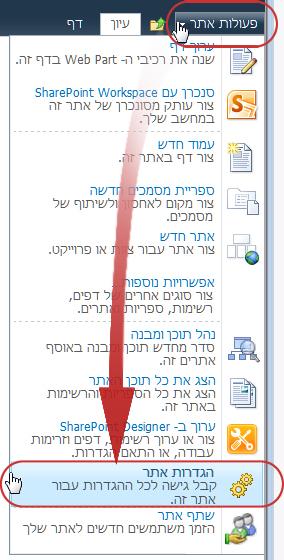 הפקודה 'הגדרות אתר' בתפריט 'פעולות אתר'