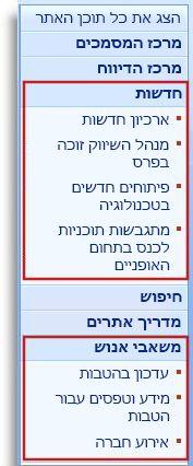 אתרי משנה ודפים מוצגים תחת כותרות בהפעלה המהירה.