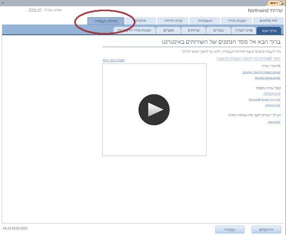 הכרטיסיה 'תחילת העבודה' של התבנית 'מסד נתונים באינטרנט של שירותים'