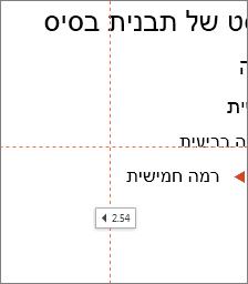 תג המציג את המרחק למרכז של השקופית