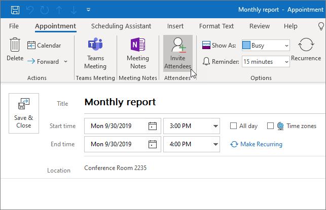 קביעת מועד לפעילות ב- Outlook
