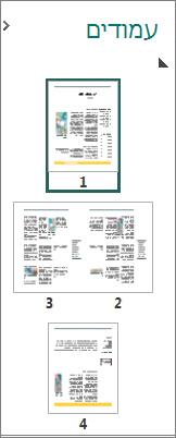 חלונית הניווט בעמודים מציגה פריסות על עמוד בודד ופריסות על שני עמודים.