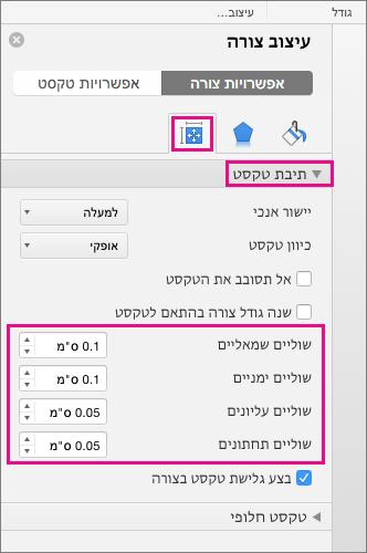 אפשרויות תיבת טקסט מסומנות בכרטיסיה ' עיצוב צורה '.