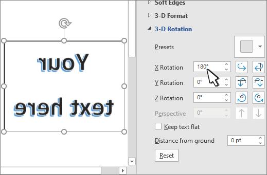 הגדרות סיבוב תלת-ממדי עם X מוגדר ל-180 מעלות