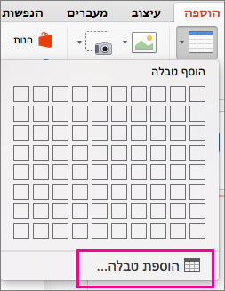 אפשרות תפריט ' הוספת טבלה '