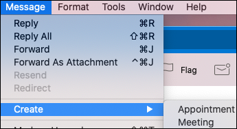 צור אירוע מתוך הודעת דואר אלקטרוני ב-Outlook עבור Mac.