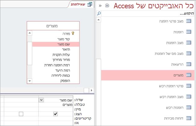 צילום מסך של כל האובייקטים של Access תצוגה