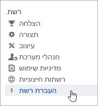 צילום מסך של פריט תפריט 'העברת רשת' עבור מנהלי מערכת של Yammer