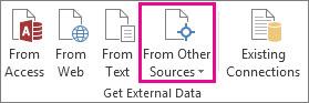 לחצן 'ממקורות אחרים' בכרטיסיה 'נתונים'