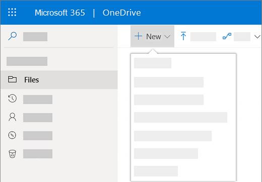צילום מסך של בחירת התפריט 'חדש' כדי ליצור מסמך חדש ב- OneDrive for Business