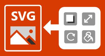 ארבעה כפתורים משמאל ותמונת SVG מימין, עם חץ ביניהם