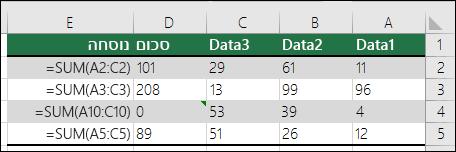 Excel מציג שגיאה כאשר נוסחה אינה תואמת לתבנית של נוסחאות סמוכות