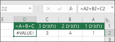 דוגמה של בניית נוסחה בצורה גרועה.  הנוסחה בתא D2 היא =A2+B2+C2