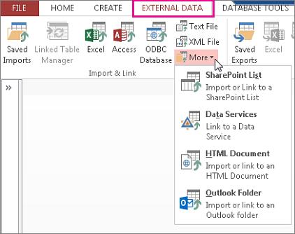 אפשרויות הכרטיסיה 'נתונים חיצוניים' ב- Access