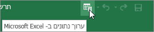 עריכת נתונים ב- Microsoft Excel הסמל בסרגל הכלים לגישה מהירה