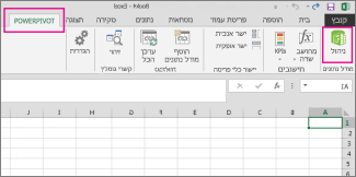 הכרטיסיה PowerPivot ולחצן 'נהל'